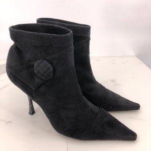 Like New BCBG black suede heeled booties